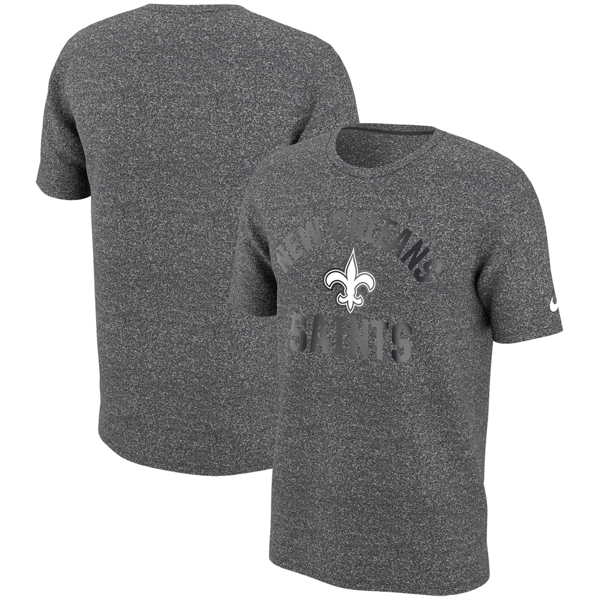 New Orleans Saints Nike Marled Gym Reflective Arch T-Shirt - Heathered Charcoal