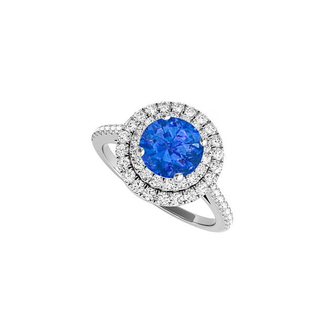 1.50CT 14K White Gold Sapphire Cubic Zirconia Double Halo Engagement Ring, Size 6 - image 1 of 1