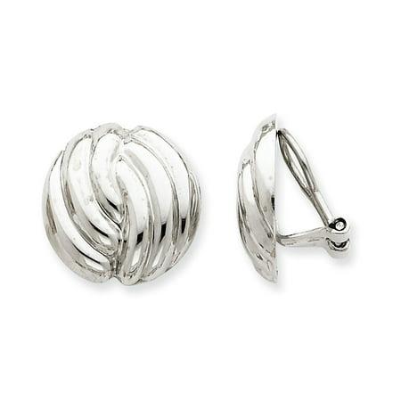 14K White Gold Earring Button Women'S 19 mm 18 Omega Clip Non-Pierced Earrings