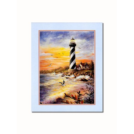 Lighthouse with Victorian Cottage by the Sea #1 Wall Picture 8x10 Art Print ()