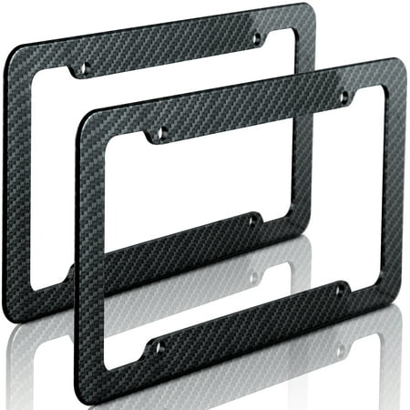 OxGord Carbon Fiber License Plate Frame for Front or Back Vehicle Tag Cover fits Cars Trucks SUVS Vans - 2pc