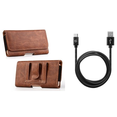 Luxmo PU Leather Wallet (Card Slot/Coin Holder) Holster Carry Case (Brown) for LG G8 ThinQ with Heavy Duty Braided USB to Type-C Sync Charger Cable (10 Feet), Atom Cloth Charger Leather Case Lcd