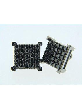 Black On Black Prong 12Mm Diamond Stud Earrings 1.65 Ct