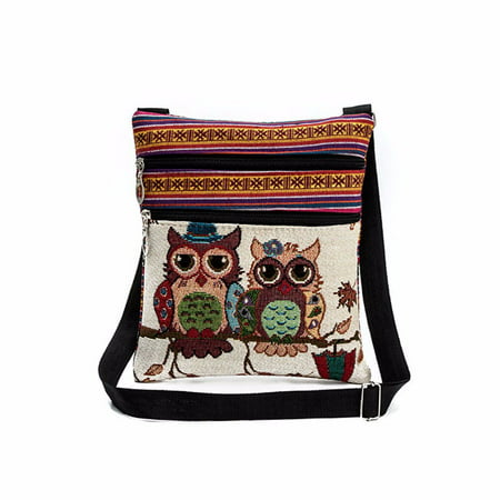 Mosunx®Embroidered Owl Tote Bags Women Shoulder Bag Handbags Postman Package - Owl Tote