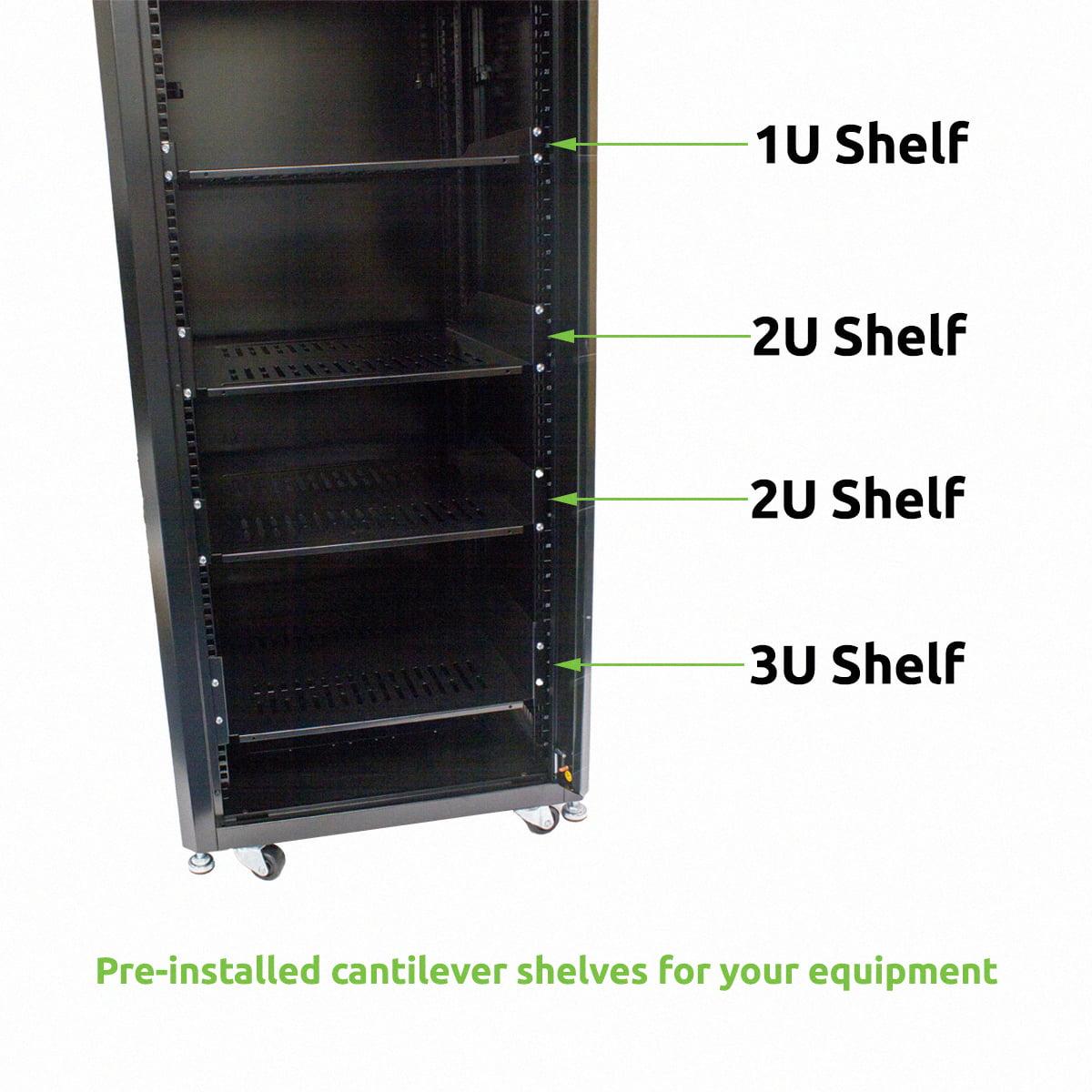 NavePoint 27U Steel Rack Audio Video A/V Rack Locking Glass Door ...