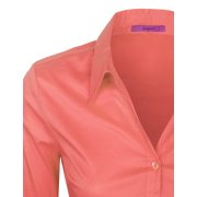 0456195bd KOGMO Womens Basic Long Sleeve Button Down Shirts Office Work Blouse (S-3X)