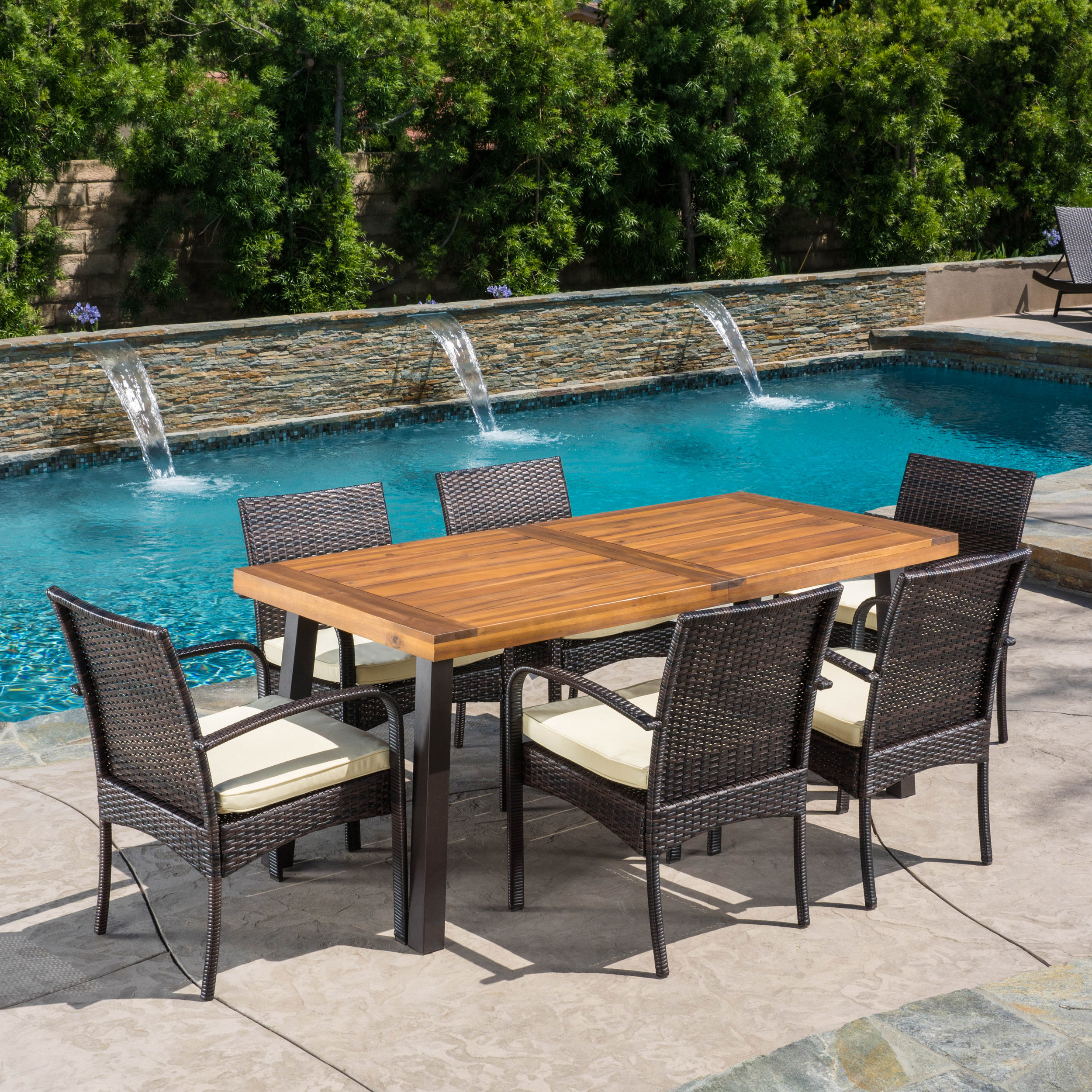 Baratta Outdoor Wicker and Acacia Wood 7-Piece Dining Set, Teak Finish and Crme