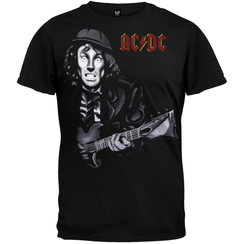 Image of AC/DC - Angus Guitar Cartoon Soft T-Shirt