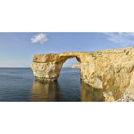 Natural limestone rock formations Azure Window Dwejra Bay Gozo Malta Poster Print