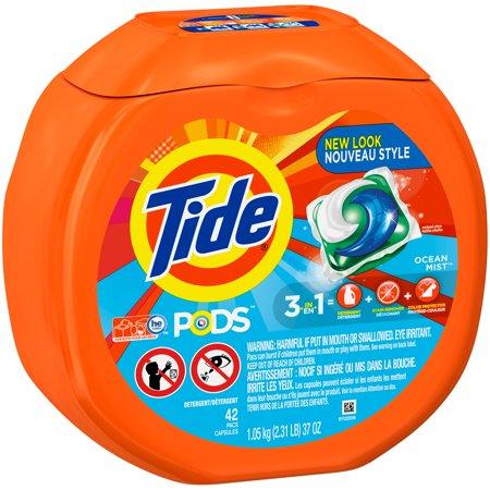 Tide Pods Liquid Detergent Pacs Ocean Mist 42 Count