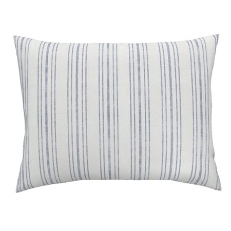Blue French Ticking Farmhouse French Cottage Shabby Chic Pillow Sham by Roostery