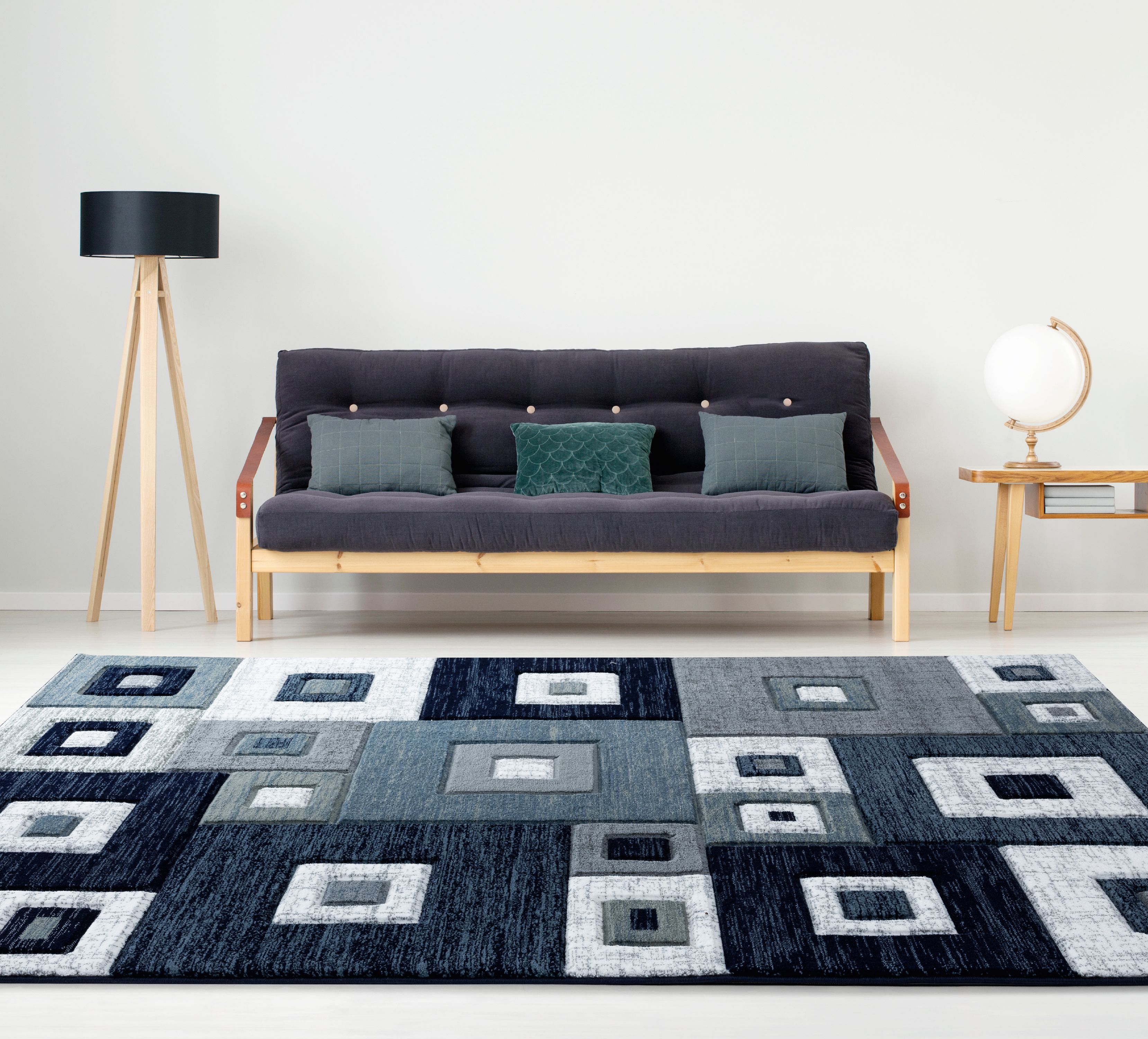 United Weavers Drachma Benson Modern Navy Woven Olefin/Polypropylene Area Rug or Runner