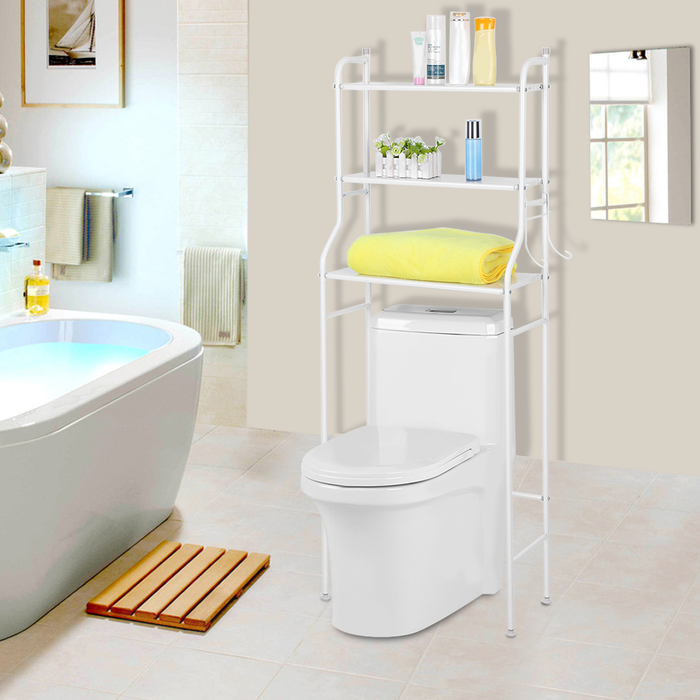 YOSOO Toilet Storage Shelf,3 Tier Iron Bathroom Shelf Space Saver Toilet  Towel Storage