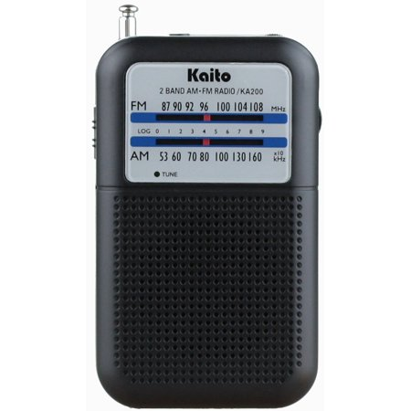 Kaito KA200 Portable Pocket Size AM/FM Radio - Black