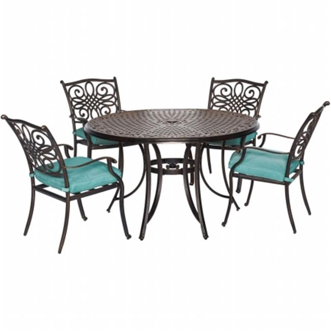 Traditions 5 Piece Dining Set - 48 in. Round Table, 4 Dining Chaise & Blue Cushion