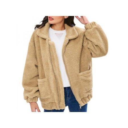9eb2250321a Nicesee - Womens Winter Fluffy Fleece Long Sleeve Oversized Faux Fur Jacket  Outerwear - Walmart.com