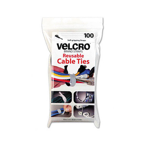 VELCRO USA Inc Reusable Self-Gripping Cable Ties, 1/2'' x 8'', 100 Ties/Pack