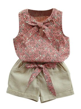 7d4e7425ac7 Product Image OUMY Baby Girls 2Pcs Sleeveless Flroal Tops + Short Pants  Outfits Set