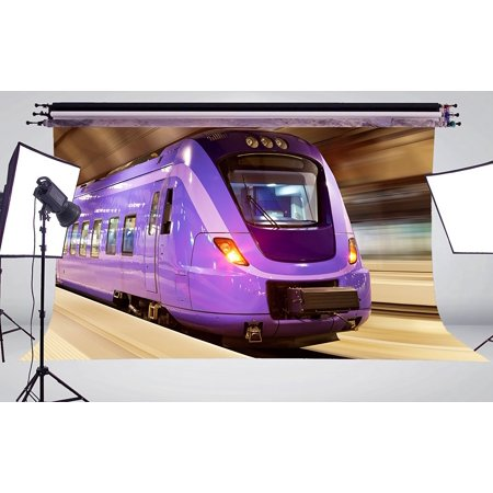 Backdrop Express Coupon (MOHome Polyster 7x5ft a Purple Express Train Photo Background Photography Backdrop Studio)