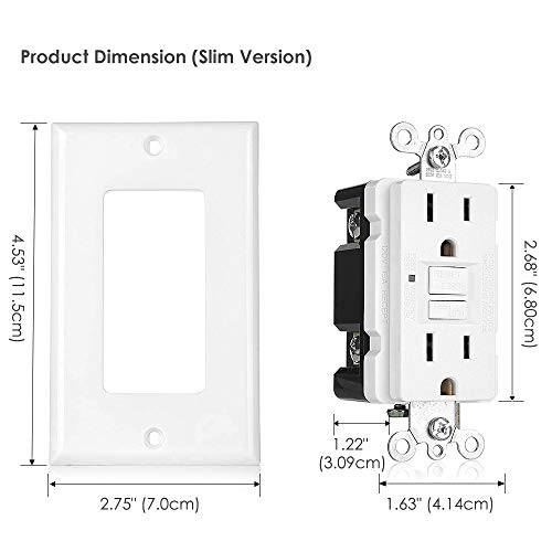 15Amp 125Volt BESTTEN Self-Test Tamper Resistant GFCI Receptacle Outlet White