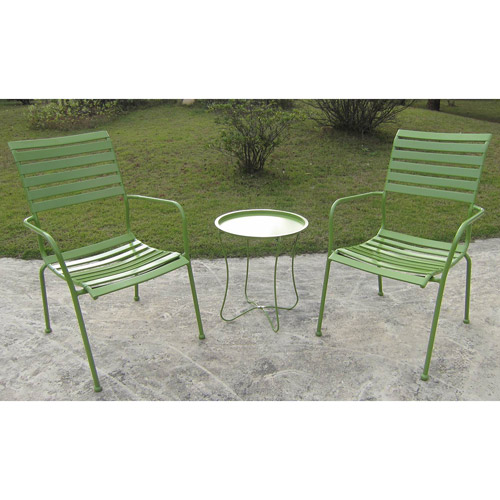 Slat 3-Piece Outdoor Bistro Set, Green, Seats 2
