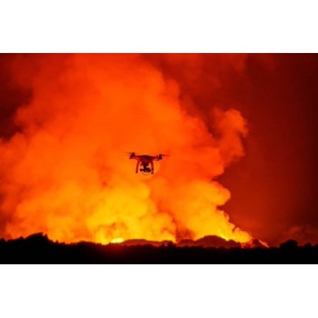 Radio Contolled Drone flying over Eruption Holuhraun Fissure Bardarbunga Volcano Iceland Canvas Art - Panoramic Images (18 x 12)
