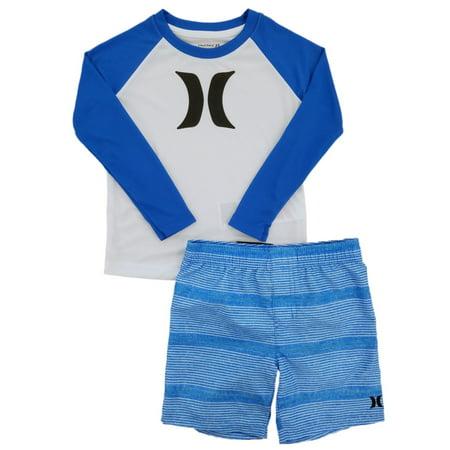 Hurley Nike Dri-Fit Toddler Boys 2P White & Blue Shirt & Shorts (Nike Outfit)