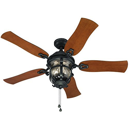Harbor Breeze Lake Placido 52 In Aged Iron Outdoor Downrod Or Flush Mount Ceiling Fan With Light Kit Walmart Com Walmart Com