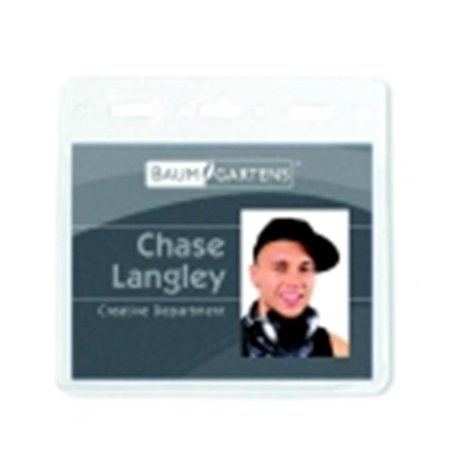 Baumgartens 4 x 3 in. Horizontal Pre-Punched Id Badge Holder, Vinyl, Clear, Pack - 50