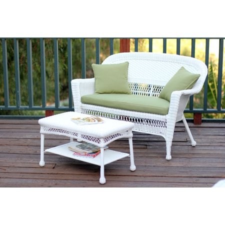 2-Piece Aurora White Resin Wicker Patio Loveseat and Coffee Table Furniture Set - Green Cushion