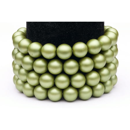Green Frosted Glass Pearls 10mm Round Sold per pkg of