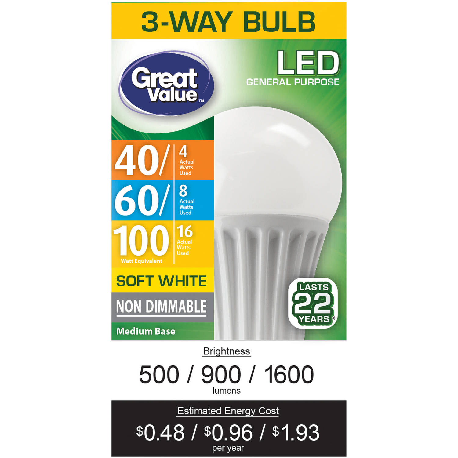 Great Value LED 3-Way (E26) Light Bulb, 4-16W (40-100 Equivalent), Soft White
