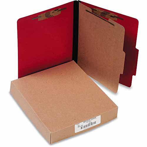 ACCO Presstex Classification Folders, Letter, 4-Section, Executive Red, 10-Pack