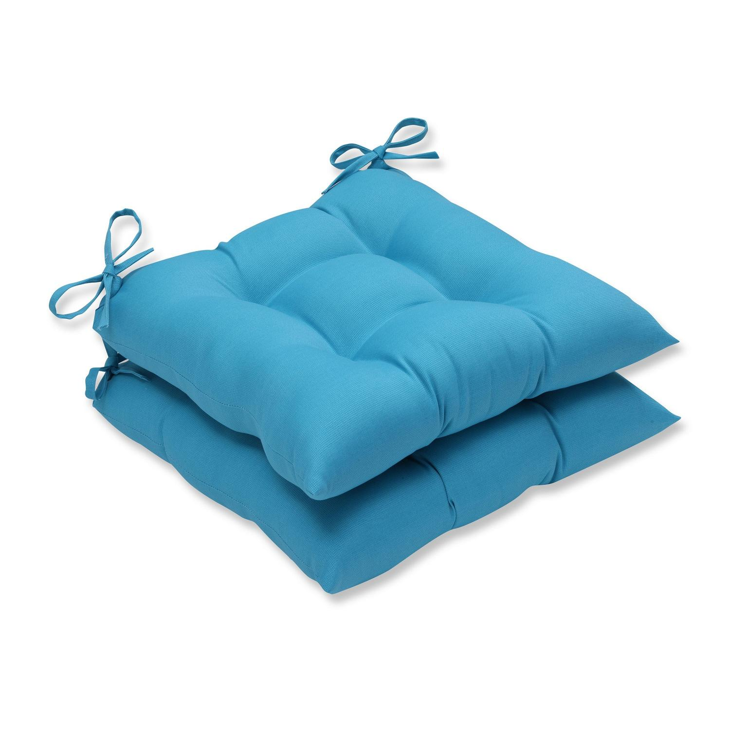 Set of 2 Blue UV/Fade Resistant Outdoor Patio Chaise Lounge Cushion with Ties 19""