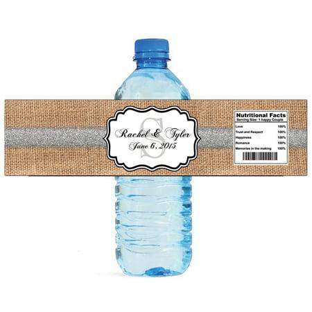 100 Burlap Silver Glitter Monogram Wedding Anniversary Bridal Shower Water Bottle Labels 8