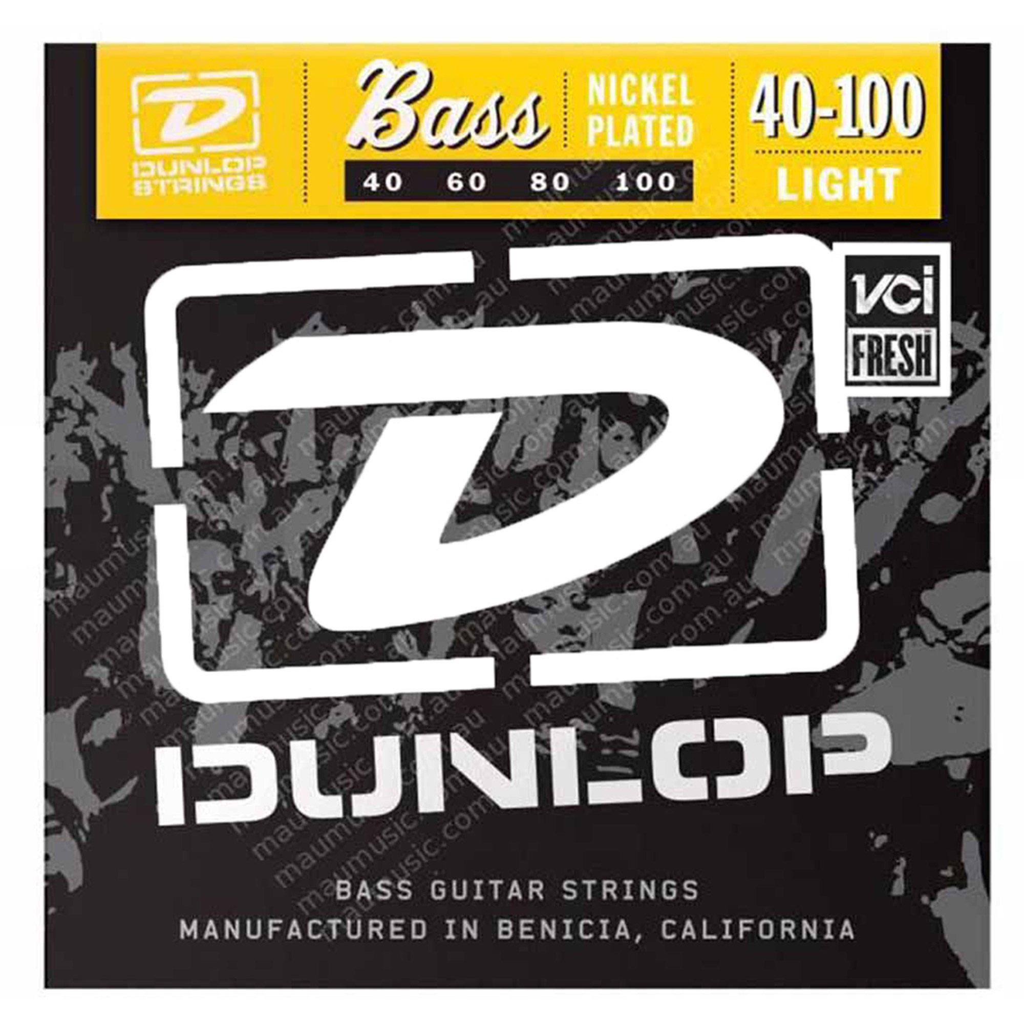 Dunlop DBN40100 Nickel Light 4 String Stainless Steel Bass Guitar Strings .40-.100 by Dunlop