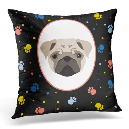 EREHome New Year of the Dog Cute Beige Pug Portrait and Abstract Pattern for Album Holiday Vacation Events Pillow Case Cushion Cover 18x18 Inches - image 1 of 1