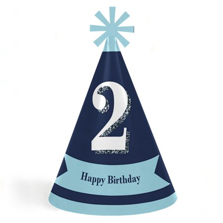 2nd Birthday Boy - Two Much Fun - Cone Happy Second Birthday Party Hats for Kids and Adults - Set of 8 (Standard Size)