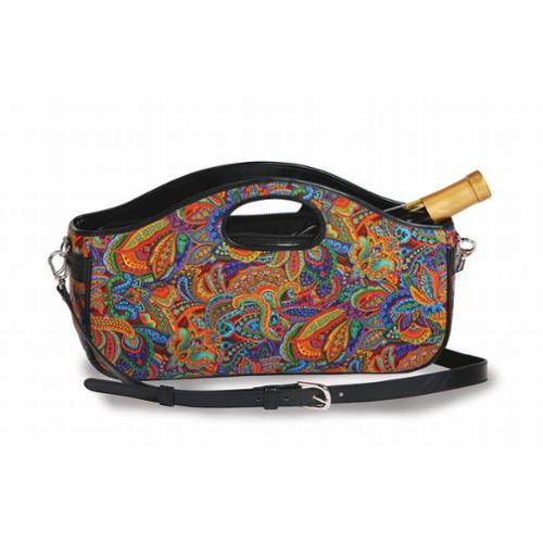 Fashionable Wine Clutch Bottle Tote with Shoulder Strap - Jewel Paisley