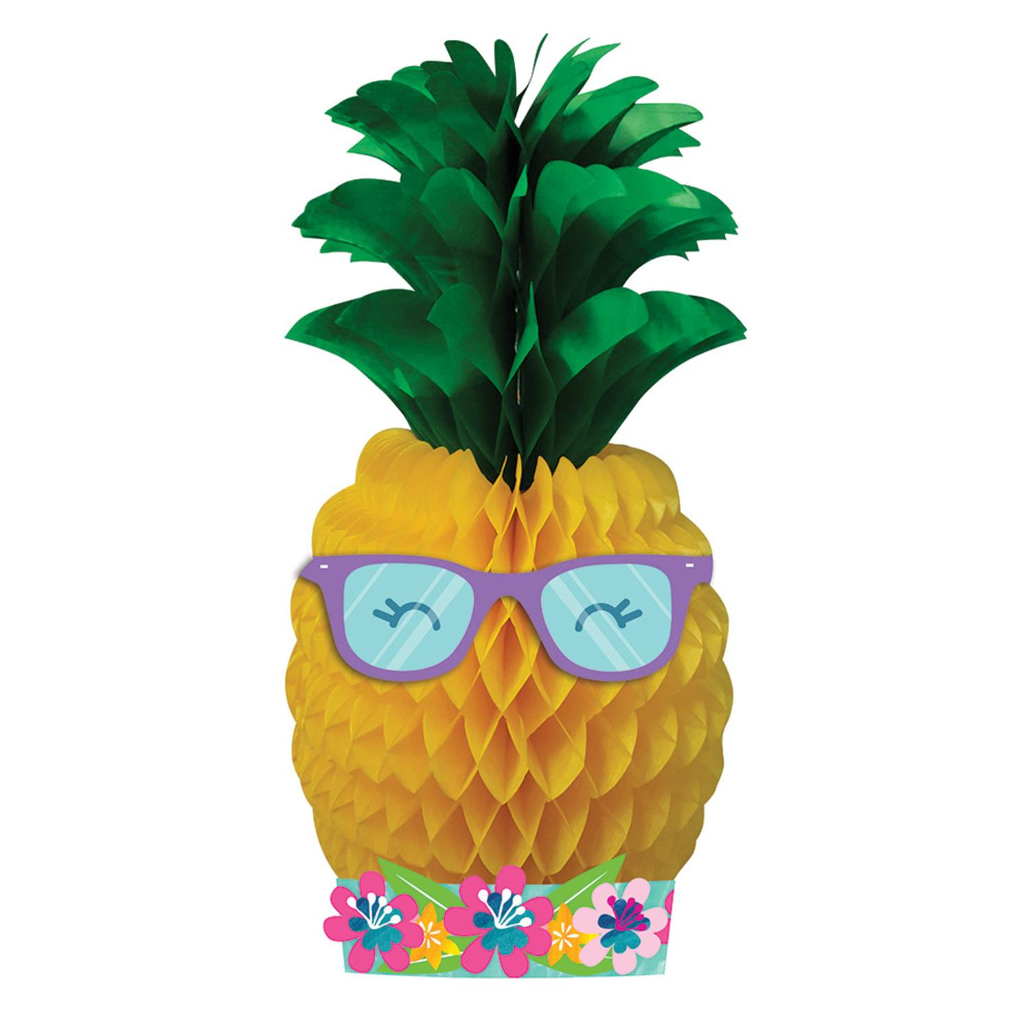 """Pack of 6 Tropical """"Pineapple N Friends"""" Honeycomb Tissue Centerpieces 21"""""""