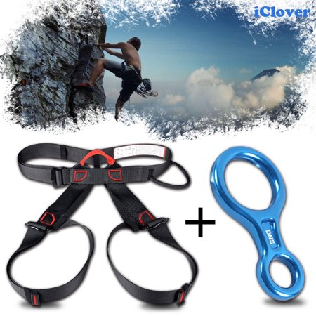 Safety Harness Seat Belt  + Rescue Descender, IClover 35KN / 3500Kg Aluminum Super Figure 8 Rescender Belay Device Rock Climbing Rappel Gear Equipment for Rock Climbing Rappelling Rescue ()