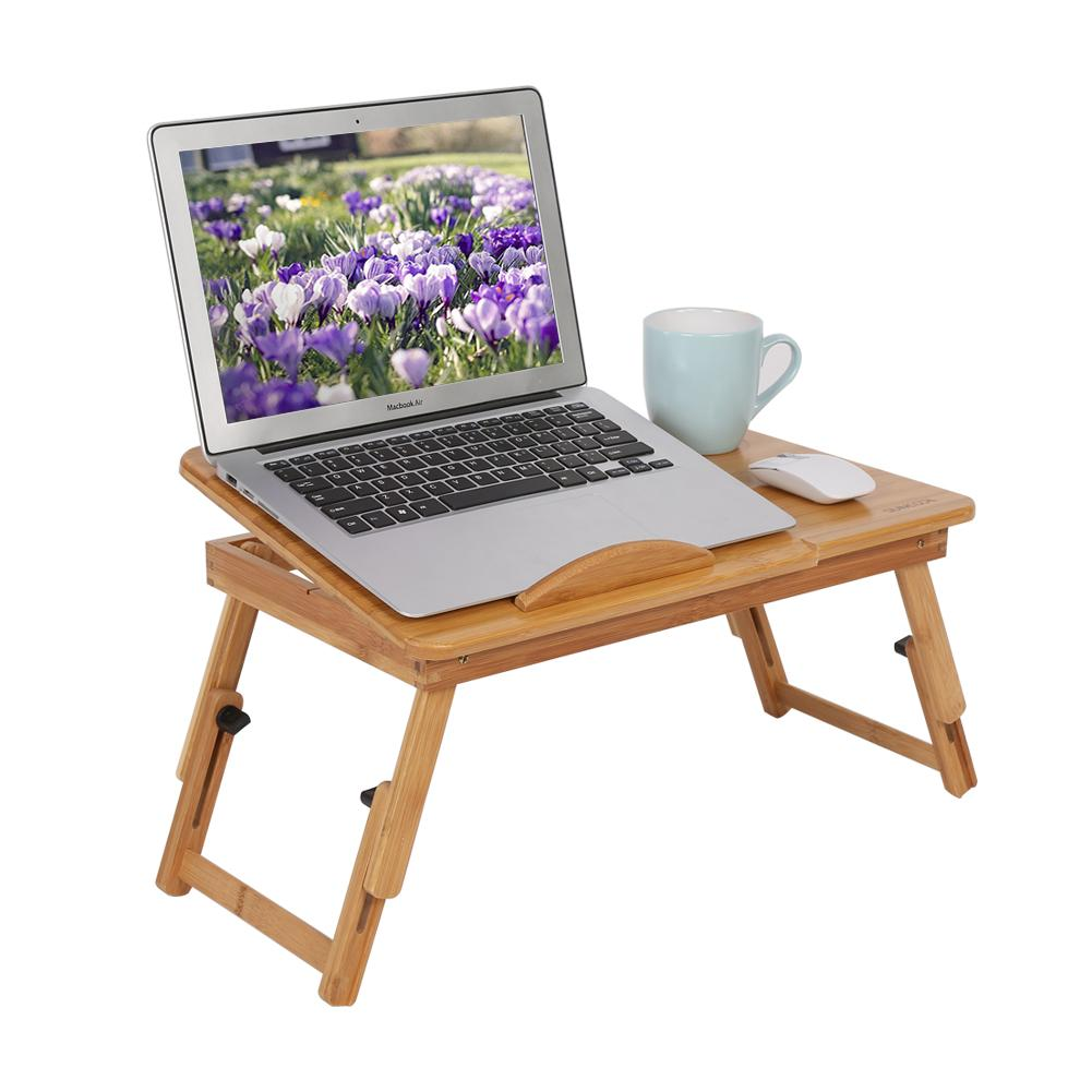 WALFRONT 1Pc Adjustable Bamboo Rack Shelf Dormitory Bed Lap Desk Portable Book Reading Tray Stand, Bed Table, Adjustable Laptop Stand