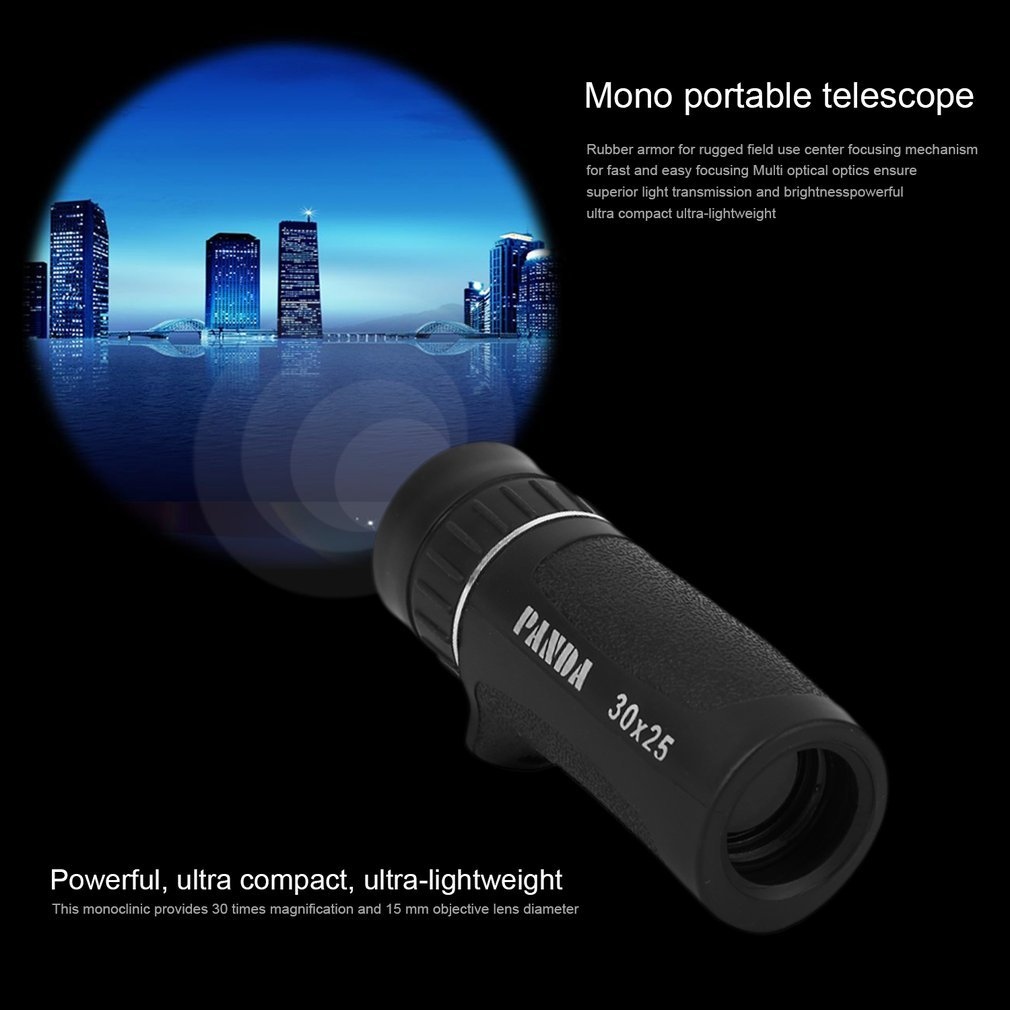 Monocular Telescope 30x25mm Zooming Focus Green Optical Hunting Hiking by