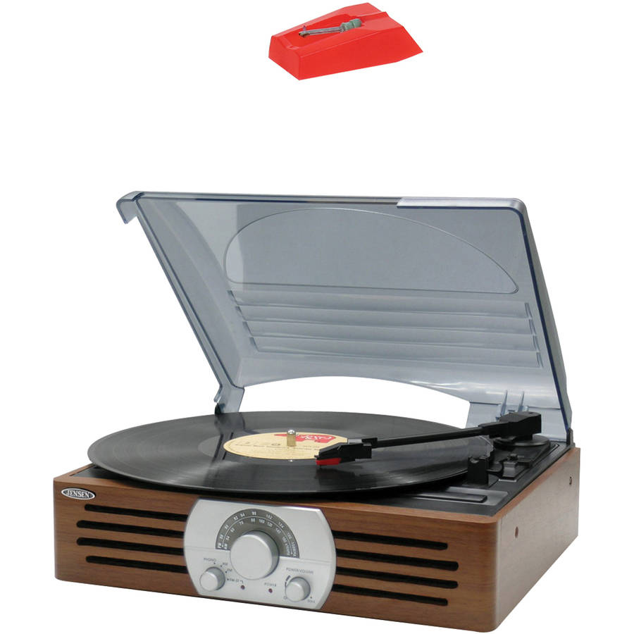 Jensen JTA-222 3-Speed Stereo Turntable with AM/FM Stereo Radio and Jensen JTA222NDL Turntable Needle