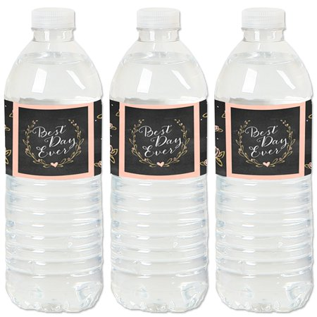 Best Day Ever - Wedding or Bridal Shower Water Bottle Sticker Labels - Set of