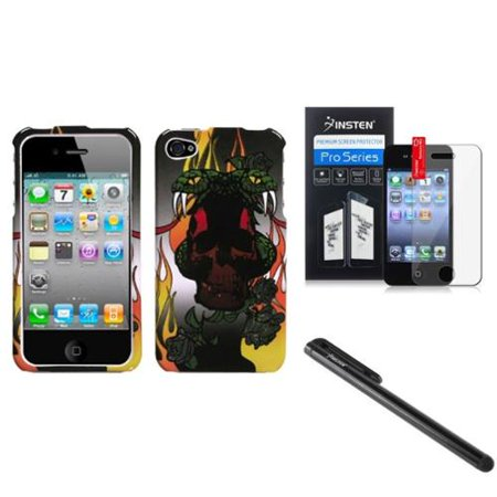 Insten Snake Colorful Patterns Hard Case Snap-On Skin For iPhone 4 4s+3.5mm Stylus Pen+LCD Screen Shield Protector