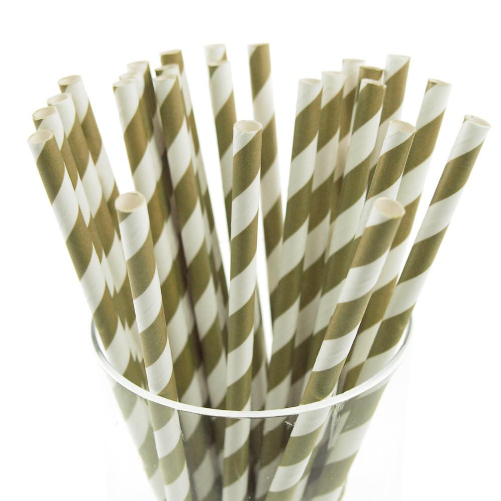 Candy Striped Paper Straws, 7-3/4-inch, 25-Piece, Willow/White