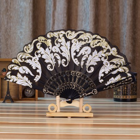 Chinese Style Dance Wedding Party Lace Silk Folding Hand Held Flower Fan Black Chinese Style Silk Clothing