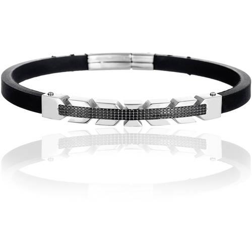 Reinforcements Men's Two-Tone Stainless Steel Leather Bracelet