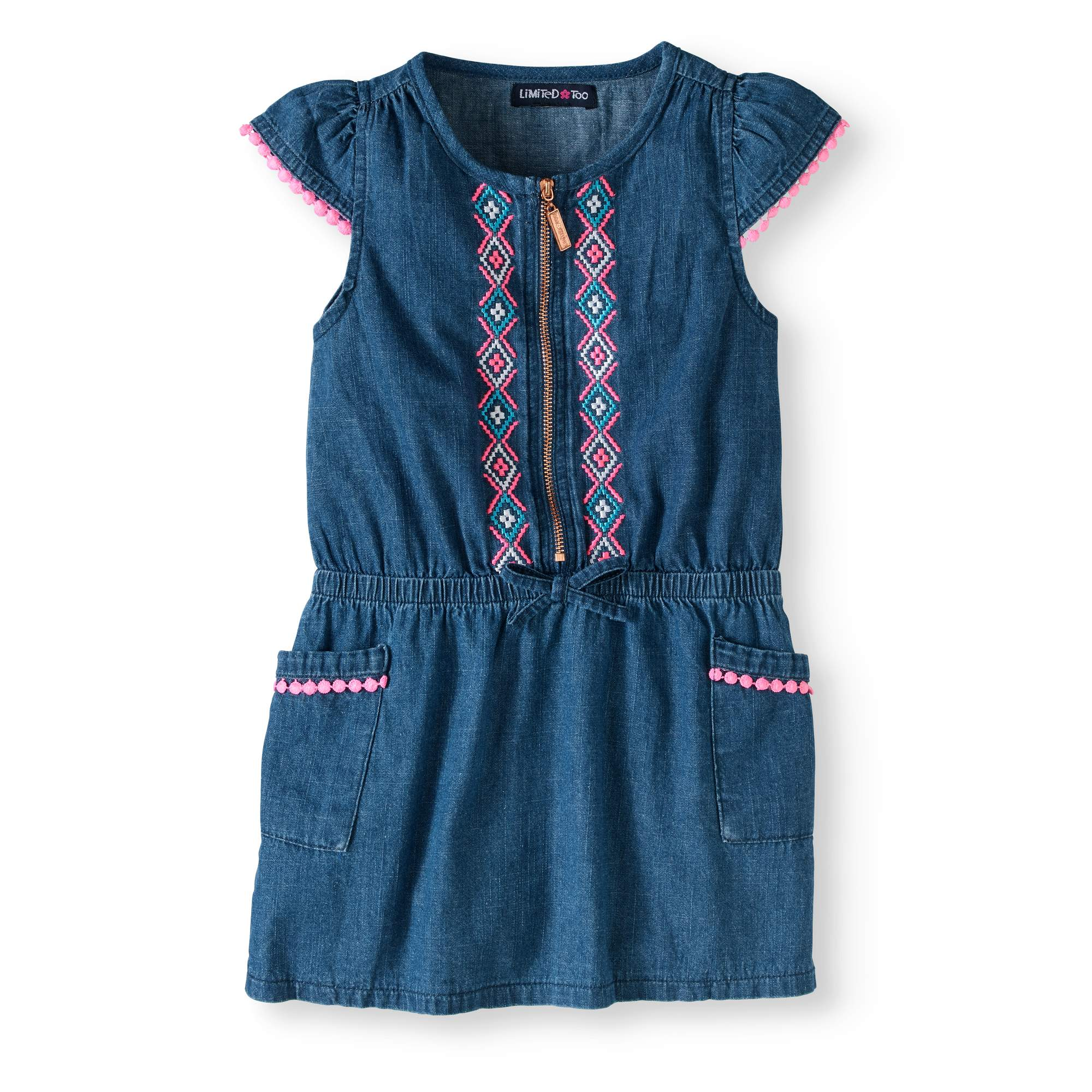 04a873f16 Limited Too - Toddler Girls  Embroidered Denim Dress - Walmart.com